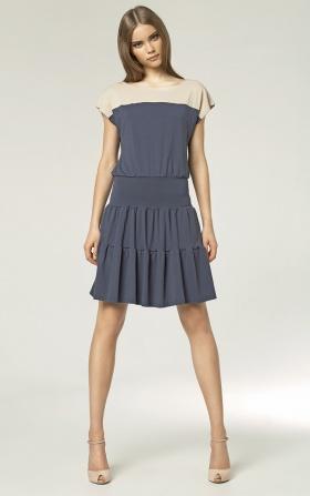 Dwukolorowa sukienka - granat