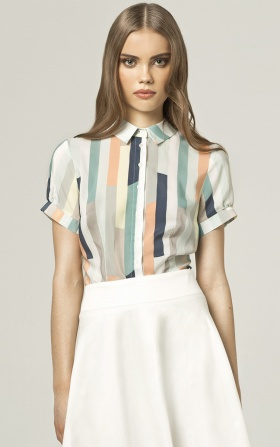 Shirt with short sleeves - stripes
