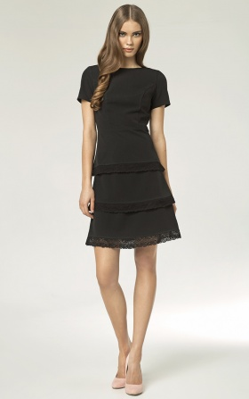 Dress with lace - black
