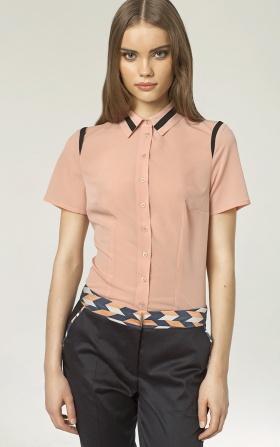 Koszula z lamówką - róż