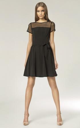 Sukienka z czarną siateczką - czarny