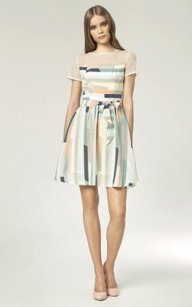 Sukienka z białą siateczką - paski