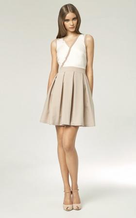 Sukienka z plisowanym dołem - beż/ecru