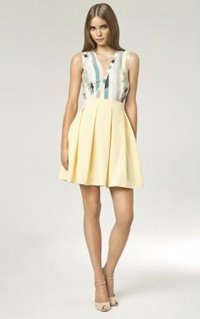 Sukienka z plisowanym dołem - żółty/paski