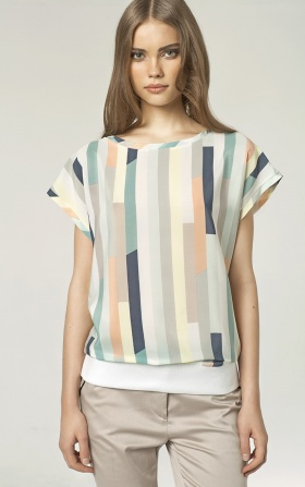Blouse with a welt - stripes