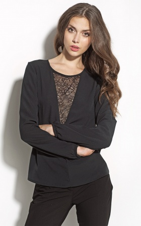 Czarna bluzka z koronką na dekolcie