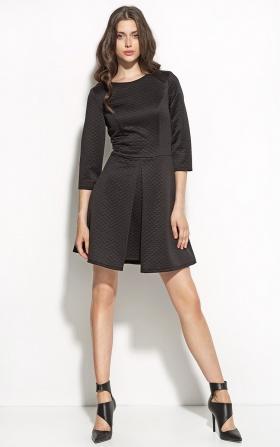 Pikowana sukienka z kontrafałdą - czarny