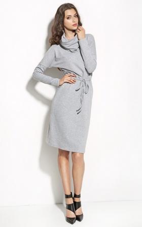 Sukienka podkreślająca talię z golfem - szary
