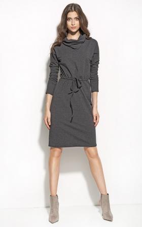 Sukienka podkreślająca talię z golfem - grafit