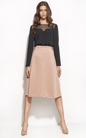 Elegancka czarna bluzka z dekoltem z siatki