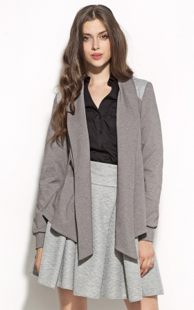 Unbuttoned jacket with longer front - gray